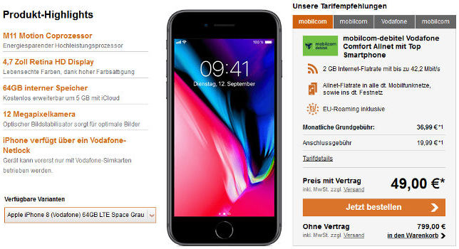 Apple iPhone 8 Allnet Flat Vertrag Logitel