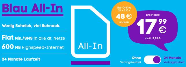 Blau All-in Allnet Flat 600 MB Datenvolumen