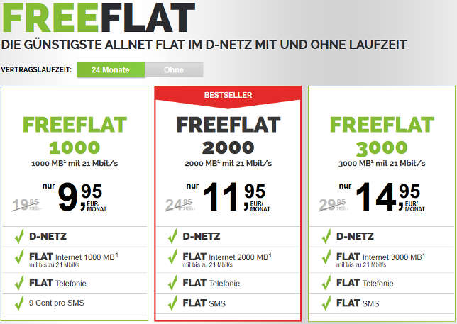 Freenetmobile Freeflat 3000 3GB D-Netz Handytarif