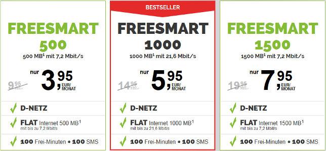 Freenetmobile Freesmart Tarife mit Laufzeit
