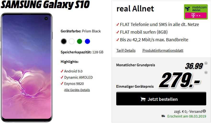 saturn galaxy s10 mit 10gb vodafone lte allnet flat f r 26 99. Black Bedroom Furniture Sets. Home Design Ideas