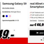 Media Markt: Galaxy S9 mit 5GB LTE Allnet Flat Vertrag für 29,99 €