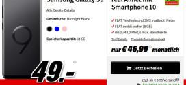 Media Markt: Galaxy S9 Plus + D-Netz Allnet Flat Vertrag für 19,99 €
