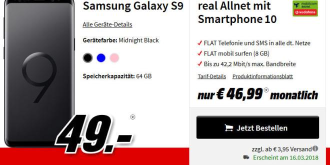 media markt galaxy s9 mit d netz allnet flat vertrag f r. Black Bedroom Furniture Sets. Home Design Ideas
