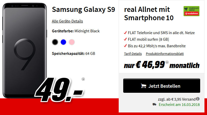 samsung aktion galaxy s9 mit 5gb lte allnet flat vertrag. Black Bedroom Furniture Sets. Home Design Ideas
