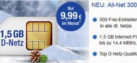 GMX & WEB.DE All-Net 300 Plus: D2 Handytarif mit 1,5 GB für 9,99 €