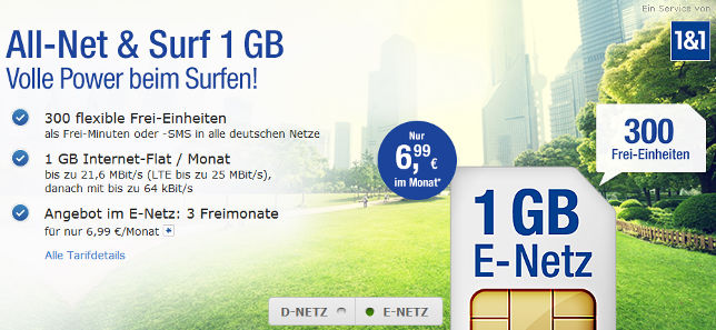 GMX WEB.DE All-Net Surf 1 GB LTE