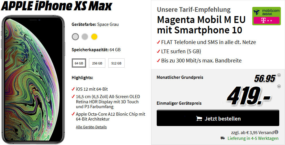 iphone xs mit vertrag die besten tarife bei media markt. Black Bedroom Furniture Sets. Home Design Ideas