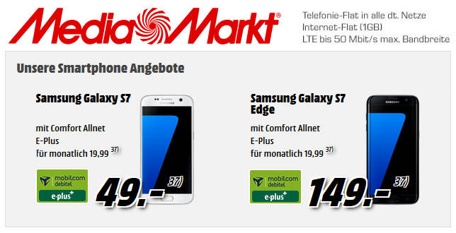 Media Markt Samsung Galaxy S7 1gb D Netz Allnet Flat Für 1999