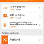 Mein Simyo App Tarifoptionen