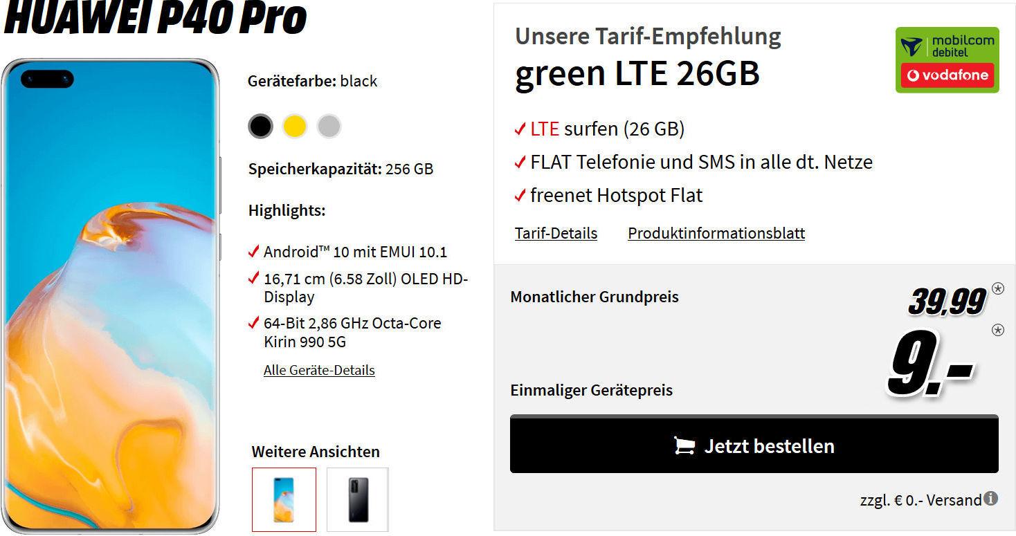 Huawei P40 Pro mit Allnet Flat Vertrag