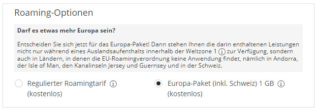 Roaming-Option Europa-Paket 1GB