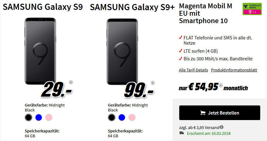 Saturn Media Markt Galaxy S9 Plus Telekom Allnet Flat Vertrag