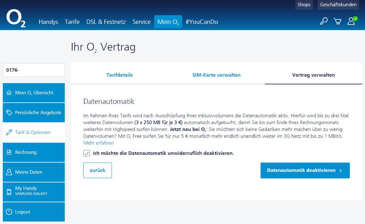 Tarifhaus o2 Datenautomatik deaktivieren