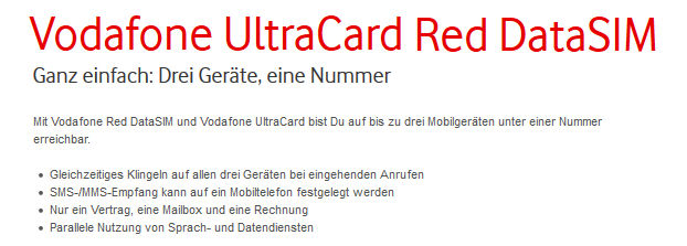 Vodafone Ultracard RED Datasim