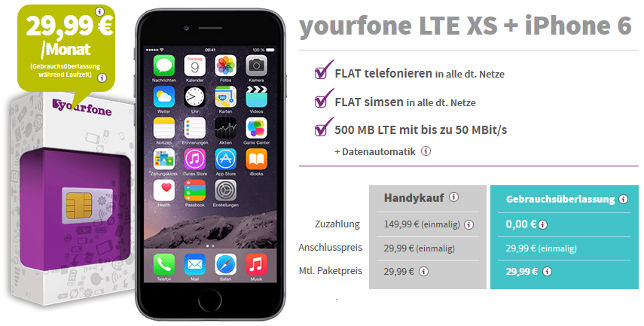 Yourfone Gebrauchsüberlassung iPhone 6